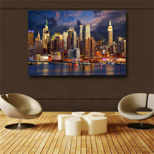 Sunset Cloud New York City Manhattan Building Canvas Painting Posters and Prints