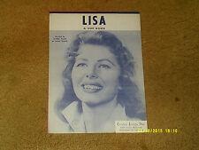 Jeanne Black sheet music Lisa 1960 3 pages (VG+ shape)
