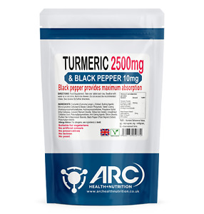 Turmeric 2500mg With Black Pepper Extract 10mg VEGETARIAN Tablets (120 Tablets)