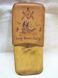 VTG 1929 SUEDE LEATHER EYEGLASS CASE~MASONIC~LONG BEACH CA~NANTICOKE PA