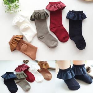 Girls Kids Children Toddlers Vintage Style Frills Trim School Party Socks 2-8y
