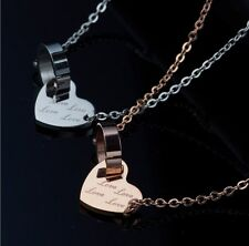 Stainless Steel Love Heart Ring Pendant Necklace Silver Rose Gold Gift Box PE11