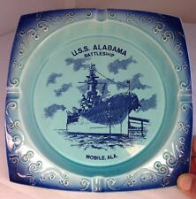 U.S. Navy, Battle Ship, Mobile AL, USS ALABAMA, Vintage Ashtray