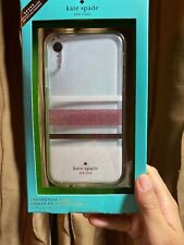 New Kate Spade Gold Block Stripes Clear Silicon iPhone XR Pink  Case Skin