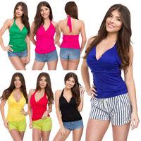 Womens Open Back Top Halter Neck Deep V-Neck Slim Fit Summer Colours M-XL1037