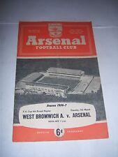 Arsenal V WBA 1956/57 - FAC6R-programa de fútbol