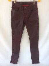 Rock & Republic Berlin Stretch Skinny Womens Waxed Cotton Burgundy Jeans 2 M