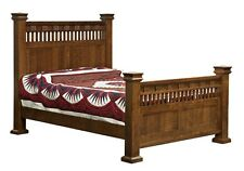 Amish Arts and Crafts Post Slat Mission Bed Solid Wood King Queen Full Sequoyah
