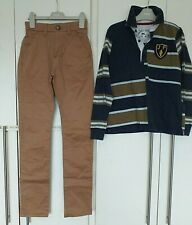 Boys winter outfit Joules bish bash rugger rugby shirt next tan chinos  10-11y