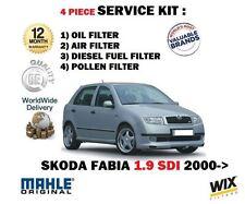 FOR SKODA FABIA 1.9 SDi 01/2000-- NEW  OIL AIR FUEL POLLEN 4 FILTER SERVICE KIT