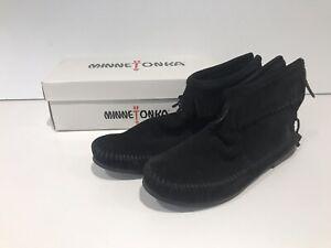 Minnetonka Back Zip Fringe Ankle Boot, Size 7, Black
