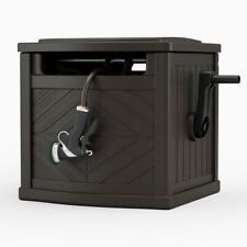 Hose Reel Storage Bin Garden Box Winding Guide Leader Crank Brown Wicker 150 ft