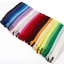 10Pcs 20cm Lace Closed End  Zippers Nylon For Purse Bags Multicolor DIY Sewing