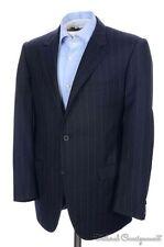 LANVIN Caruso Blue Chalk Striped 100% Wool Jacket Pants SUIT - EU 50 / US 40 R