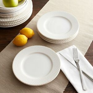 Better Homes & Gardens Set of 4 Modern Farmhouse Salad Plates Dotted Round Ivory