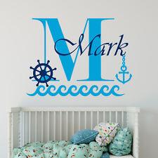 Monogram Wall Decal Boys Name Decal Anchor Sticker Nautical Nursery Decor MA76