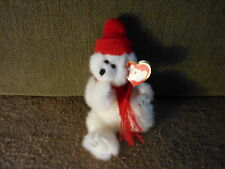 """Peppermint"" Stuffed plush Ty 10"" white jointed teddy bear/red knit scarf & hat"