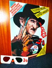 FREDDY KRUEGER - Nightmare on Elm St - Vintage 3D Poster Magazine + Glasses RARE