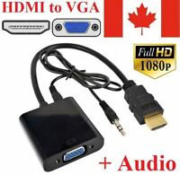 HDMI To VGA Cable Adapter Converter 1080P Video Cable + Audio For Computer