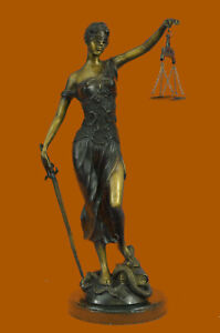"""19"""" tall Blind Justice Signed Mayer Bronze Statue Handmade Lost Wax Method SALE"""
