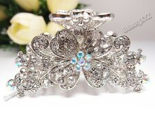 NEW woman crystal flowers high quality metal hair claws clip pin