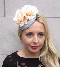 Peach Silver Grey Rose Flower Fascinator Hat Clip Races Wedding Pillbox 3375