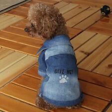 Size S Pet Dog Cat Clothes Denim Paw Print Apparel Puppy Coat Jacket Comfy Shirt