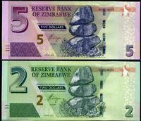 ZIMBABWE SET 2 PCS 2 5 DOLLARS 2016 (2017) P 99 100 UNC