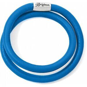 NWT Brighton WOODSTOCK True Blue DOUBLE Leather Bracelet MSRP $50