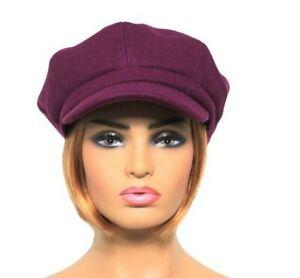 Felt Wool Blend Womens Baker Boy Hat Ladies Newsboy Cap PURPLE Clearance