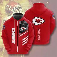 Kansas City Chiefs Hoodie Football Hooded Sweatshirt Pullover Fans Casual Jacket