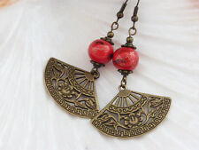 Pretty Filigree Fan Earrings in Antique Bronze with Red & Gold Porcelain Beads