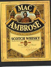 WHISKY ETIQUETTE SCOTCH WHISKY MAC AMBROSE SCOTLAND 100 CL 40°   §05/02/17§