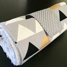 Large Waterproof Change mat traveling mat in Grey, metallic Gold, lrg triangles