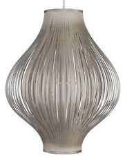 LARGE Vintage Retro Taupe Ribbon Bulb Pendant Ceiling Shade NEW BNIB
