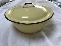 Vintage 2 Pc Set YELLOW Enamel ENAMELWARE PAN & LID
