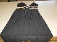 DIANA FERRARI - BLACK EVENING DRESS - BEIGE/CREAM STRAPPING - SIZE 14 -WORN ONCE