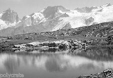 Paysage montagne Alpes lac reflets Tirage d'après négatif photo ancien deb. XXe