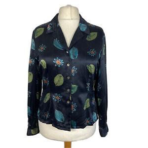 Vtg Monsoon Black Green 100% Silk Satin Batik 90s Y2K Shirt Blouse Size 14