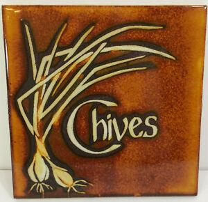 "Chives Decorative Tile Art Trivet Brown Glazed Brown Orange Kitchen 6"" Square"