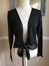 Neo Black Cardigan Tie Front Size L BNWT
