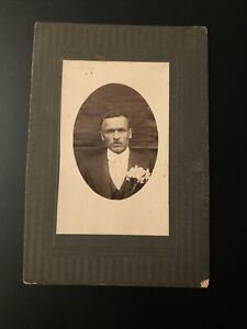 Early Cabinet Photo African American Man Mustache Black Americana 4 x 6 inches