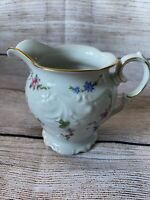 WAWEL MADE IN POLAND 3 WHITE CHINA CREAMER WITH FLOWERS GOLD TRIM