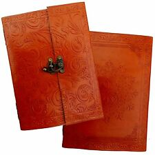 Orange Handmade Real Leather Sketchbook Journal Diary Scrapbook - Handmade Paper