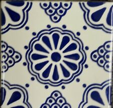 Flor Azul (Blue Flower) Talavera Tile Coaster Drink Holder