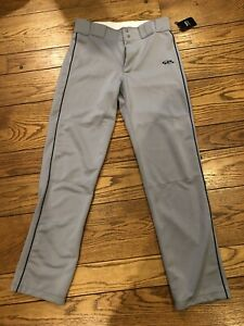 BOOMBAH Gray MENs Baseball Pants Size 34 Navy Blue trim New with Tags