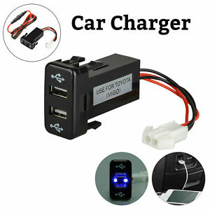 2.1A Car Charger Socket Dual 2 USB Port Charging Power Adapter Outlet for Toyota