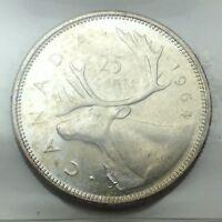 1964 Canada 25 Twenty Five Cents Quarter Canadian Graded ICCS XNI 293 Coin D073
