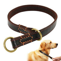 Genuine Leather P Choke Chain Collar for Large Dog Training Walking Pitbull K9