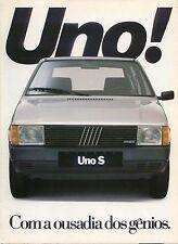 Fiat Uno S 1050 Petrol 1300 Alcohol Original Brazilian Sales Brochure 1980s